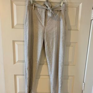 LOFT Grey High Wasted Pant w/ Tie